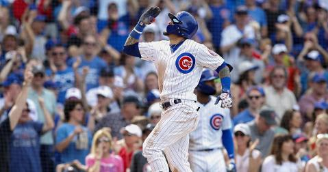 Javier Baez was fired up while rounding the bases on his 100th career home run. (Credit: Jim Young-USA TODAY Sports)