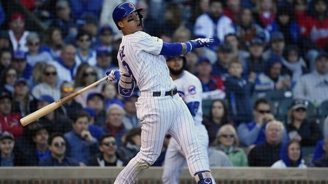Cubs superstar Javier Baez came up clutch with a late go-ahead blast. (Credit: Quinn Harris-USA TODAY Sports)