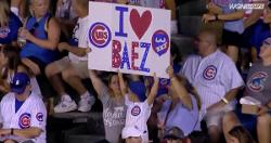 WATCH: Young Cubs fan shows off flashing Javier Baez poster in stands