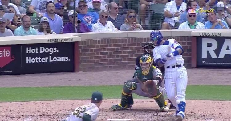 Javier Baez was briefly in serious pain after fouling a pitch into his shin guard, but the ailment could have been a lot worse.