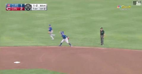 Showing off his wide array of defensive skills, Chicago Cubs shortstop Javier Baez pulled off a superb web gem.