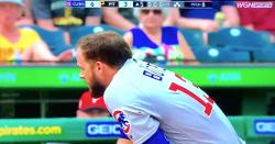 WATCH: David Bote gets drilled in helmet, becomes testy when asked about it