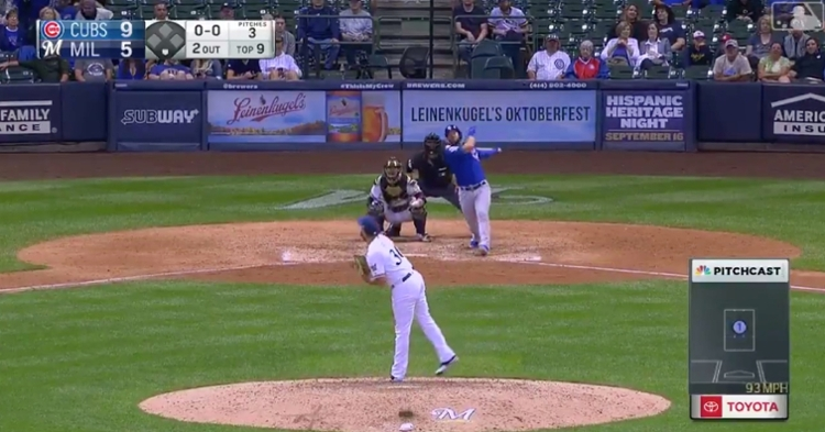 Chicago Cubs infielder David Bote went yard after being promoted from the minor leagues earlier in the day.