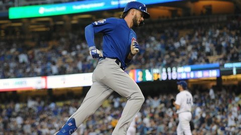Kris Bryant tabbed one of four home runs hit at Dodger Stadium on Friday night. (Credit: Gary A. Vasquez-USA TODAY Sports)