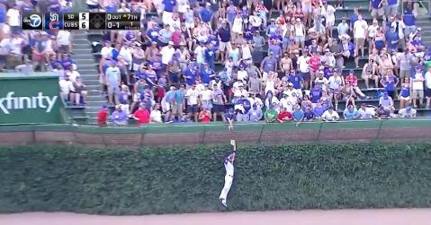 Kris Bryant showed off his hops by making a nice leaping snag at the wall.