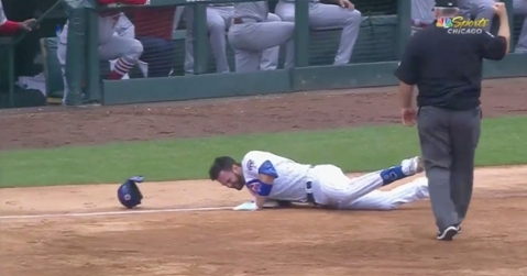 Chicago Cubs third baseman was diagnosed with a sprained right ankle after leaving Sunday's game due to injury.