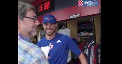 WATCH: Cardinals player discusses Kris Bryant with Bryant awkwardly standing nearby