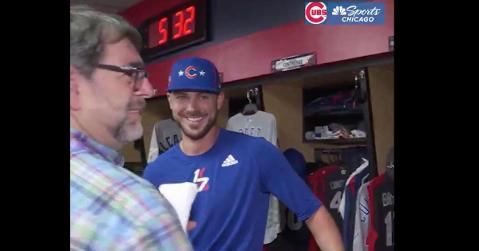 Kris Bryant reacted with nervous laughter upon hearing a Cardinals player getting asked about Bryant's infamous St. Louis remark.