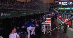 WATCH: Kris Bryant gets spooked by lightning strike during weather delay