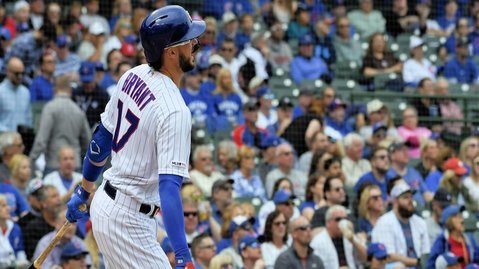 Kris Bryant hit one of two home runs tabbed by the Cubs in their series finale versus the Marlins. (Credit: Matt Marton-USA TODAY Sports)
