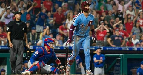 Philadelphia Phillies slugger Bryce Harper crushed a jaw-dropping grand slam that downed the Chicago Cubs. (Credit: Bill Streicher-USA TODAY Sports)