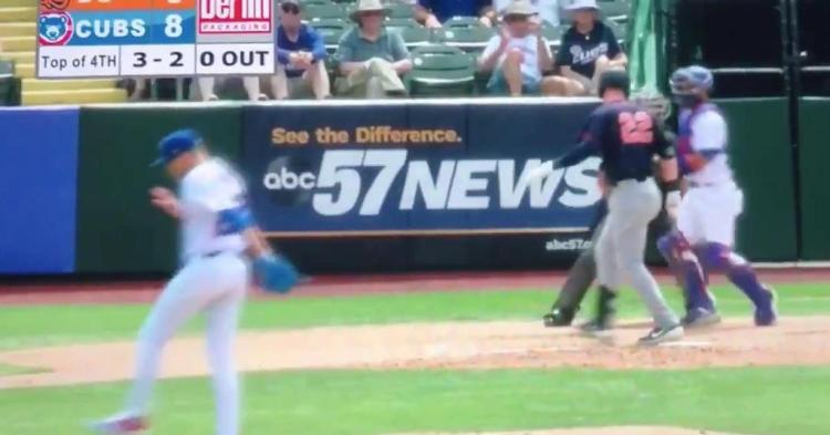 """Cubs pitching prospect Cam Sanders performs a """"skip-to-my-lou"""" routine after recording strikeouts."""