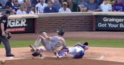 WATCH: Victor Caratini gets spiked in hand on slide, remains in game