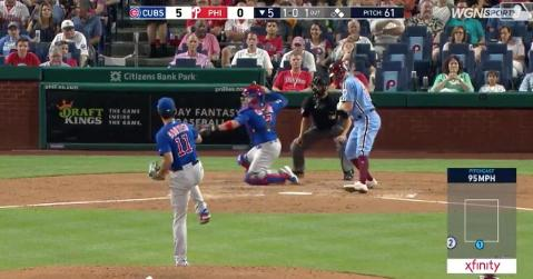 Chicago Cubs catcher Victor Caratini picked off a runner at first base with a laser of a throw that he made from his knees.
