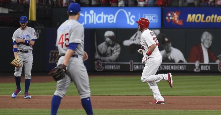 The Cardinals amassed 13 more hits than the Cubs in a lopsided rubber match that prolonged the Cubs' road woes. (Credit: Joe Puetz-USA TODAY Sports)