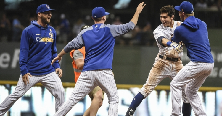 Christian Yelich plated the winning run via a walkoff double in the bottom of the ninth on Saturday. (Credit: Benny Sieu-USA TODAY Sports)