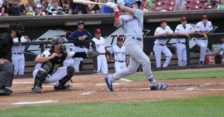 Cole Roederer smacked his first two homers of July (Photo credit: Dustin Riese)