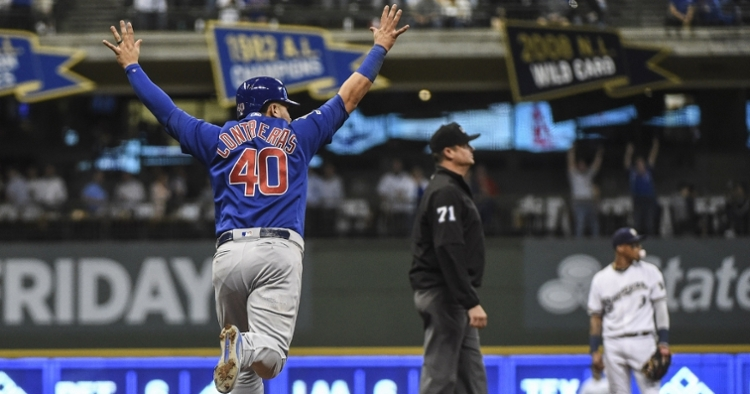 Chicago Cubs catcher Willson Contreras led all hitters with four hits, one of which was a solo home run. (Credit: Benny Sieu-USA TODAY Sports)