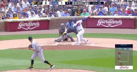 Willson Contreras was responsible for three of the Cubs' seven opening-inning runs scoring, as he smacked a 3-run blast.