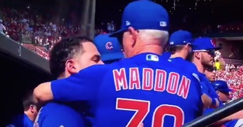 A tearful Willson Contreras hugged it out with Joe Maddon late in the final game of Maddon's Cubs tenure.