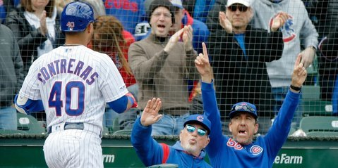 Willson Contreras hit a pair of homers completely out of Wrigley. (Credit: Jon Durr-USA TODAY Sports)
