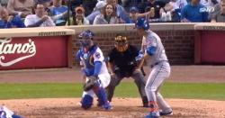 WATCH: Willson Contreras gets hit in crown jewels, remains in game