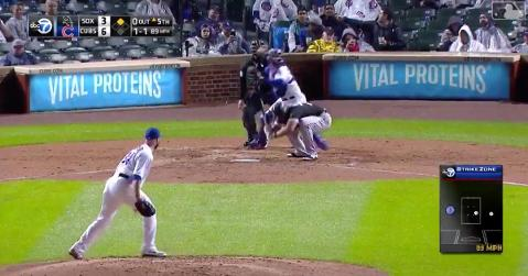 Cubs catcher Willson Contreras brandished his weapon of a right arm when he gunned down a baserunner on a steal attempt.