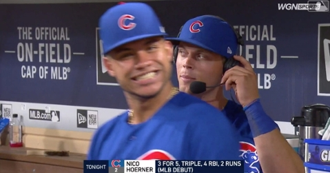 Willson Contreras dd not shy away from an opportunity to videobomb Cubs newcomer Nico Hoerner.
