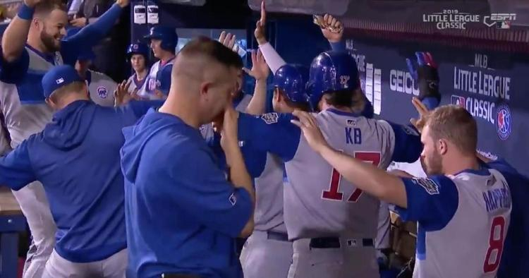 """The Chicago Cubs performed the """"Jersey Shake"""" dance that has been a fixture of the 2019 Little League World Series."""