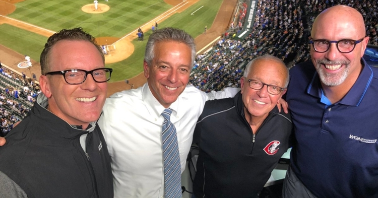 Thom Brennaman introduced his iconic father, Marty Brennaman, who joined Jim Deshaies and Len Kasper for a half-inning. (Credit: @lenandjd on Twitter)