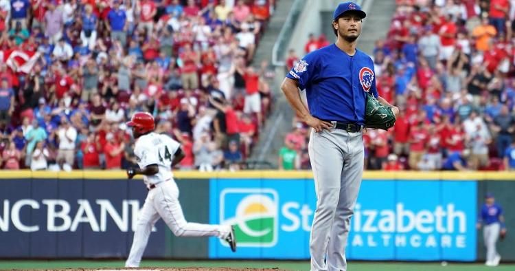 Chicago Cubs starting pitcher Yu Darvish got taken deep three times as part of a losing effort on Friday night. (Credit: Aaron Doster-USA TODAY Sports)