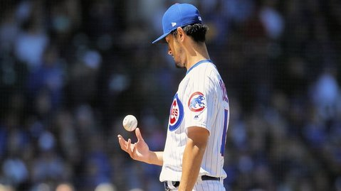 Cubs starter Yu Darvish fell to 1-3 in a tough start against the Diamondbacks. (Credit: Jim Young-USA TODAY Sports)