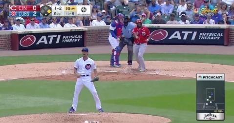 Chicago Cubs right-hander Yu Darvish was fired up after collecting an inning-ending strikeout.