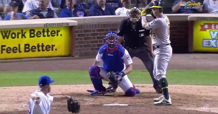 While backup catcher Taylor Davis pitched, emergency catcher Kyle Schwarber caught in the ninth inning on Tuesday.