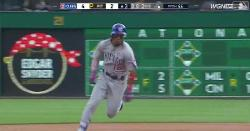 WATCH: Robel Garcia smacks triple to deep right-center for his first career hit