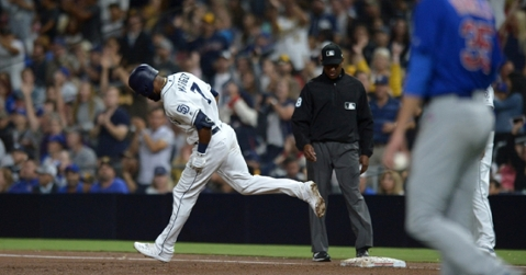 Cole Hamels gave up a go-ahead home run to Manuel Margot in the bottom of the fifth, and it turned out to be the winning hit. (Credit: Jake Roth-USA TODAY Sports)