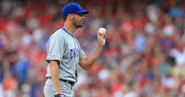 Cubs pitcher Cole Hamels suffered an injury to his left side that ended his start after just one inning. (Credit: Aaron Doster-USA TODAY Sports)