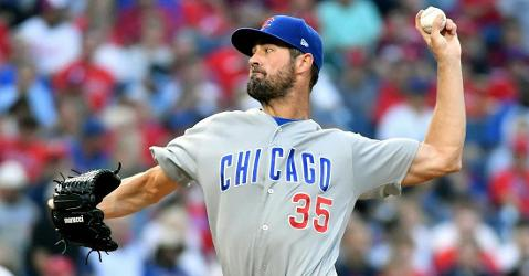 Cole Hamels made it through just two innings pitched before being removed from the game in his Philadelphia homecoming. (Credit: Eric Hartline-USA TODAY Sports)