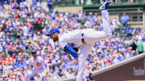 Chicago Cubs ace Cole Hamels allowed just four baserunners in eight innings of work. (Credit: Patrick Gorski-USA TODAY Sports)