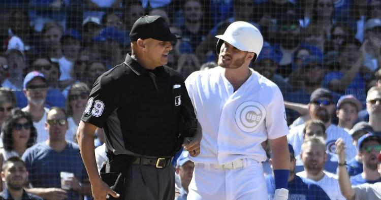 Epitomized by Ian Happ's ejection, the Chicago Cubs endured a frustrating afternoon at Wrigley Field. (Credit: David Banks-USA TODAY Sports)