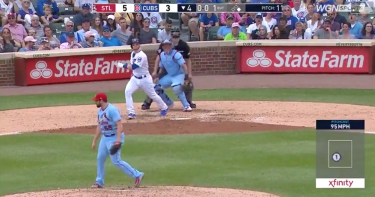 After stepping up to the plate as a pinch hitter, Ian Happ smacked a game-tying 2-run blast for the Cubs.
