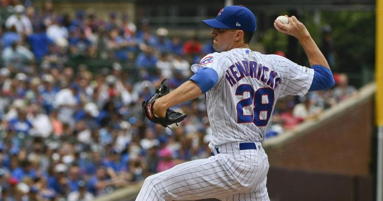 Chicago Cubs starting pitcher Kyle Hendricks did not receive much run support on Sunday afternoon. (Credit: Matt Marton-USA TODAY Sports)