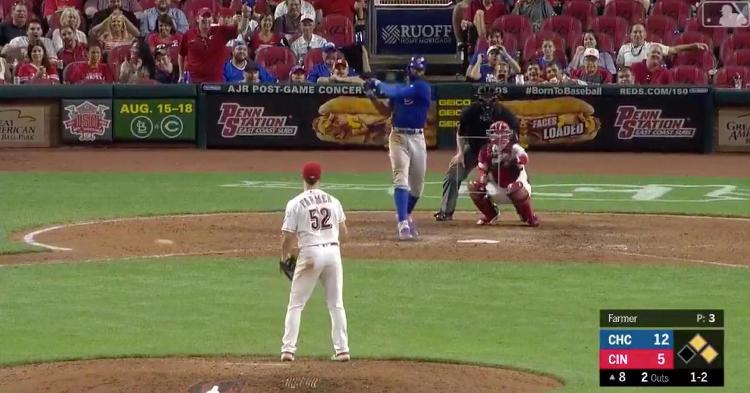 Jason Heyward stomped his feet while raring to take a swing at each slow pitch coming from Kyle Farmer.