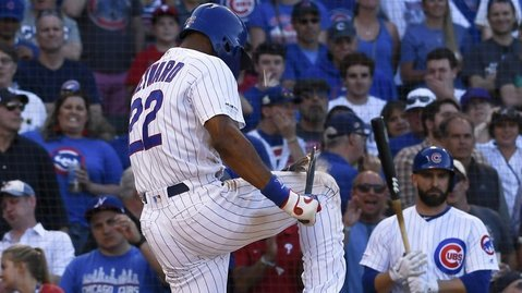 Jason Heyward was so frustrated after striking out in the bottom of the ninth that he broke his bat over his knee. (Credit: Matt Marton-USA TODAY Sports)