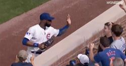 WATCH: Jason Heyward high-fives kid in stands after making catch