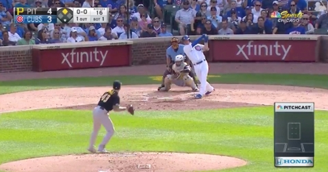On the very first pitch that he ever faced at Wrigley Field, Nico Hoerner clubbed a go-ahead home run.