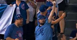 WATCH: Cubs fan yanks Schwarber walk-off home run ball from two kids