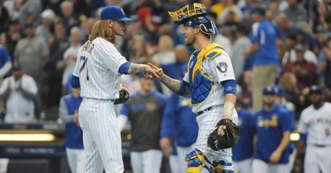 Brewers reliever Josh Hader continued his dominance of the Cubs by putting the finishing touches on Sunday's game. (Credit: Michael McLoone-USA TODAY Sports)