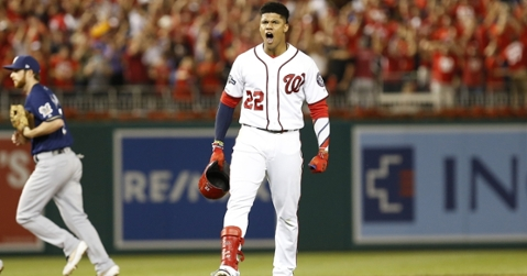 Washington Nationals left fielder Juan Soto cleared the bases with what proved to be the game-winning hit with two outs in the bottom of the eighth. (Credit: Geoff Burke-USA TODAY Sports)
