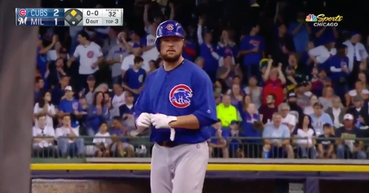 Chicago Cubs starting pitcher Jon Lester plated a run with a double hit down the right-field line.